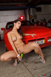 hot girl fucking herself by the red car