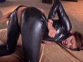 Asian Babe In A Black Leather Catsuit Loves Aggressive Sex Any Porn