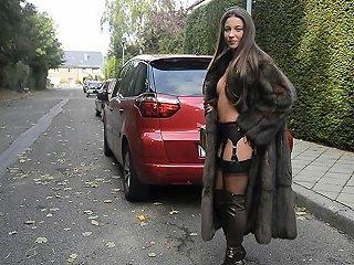 Exhibitionist Nude Under Luxe Fur Coat Vintage