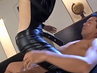 Beautiful Asian Babe Wearing Latex Is Ready To Be In A Threesome