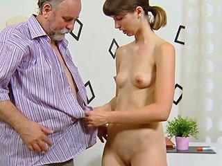Ugly Bearded Grandpa Fucks Teen Sweetie In The Kitchen