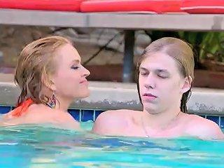 Krissy Lynn Gives The Lucky Teen Man An Underwater Handjob