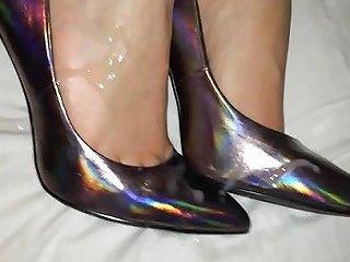 Shoejob And Cum On Her Holograph Heels Porn 18 Xhamster