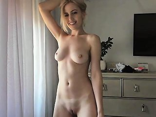 Sensual Blonde Teen In Glamurous Lingerie Does Striptease
