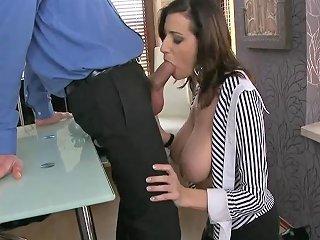 Horny Secretary With Massive Boobs Fucked By Manager