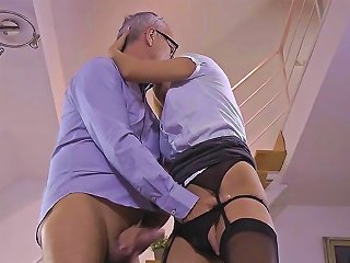 Stocking Babe Gets Cum