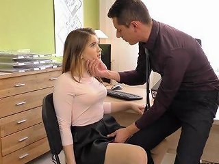 Irresistible Big Booty Babe At The Office Wears Stockings While Riding A Stiff Shaft